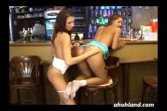 Hairy teens in bar