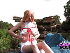Cosplay babes beautiful asura plays masturbates outdoors