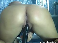 Big tits asian hottie masturbation in shower