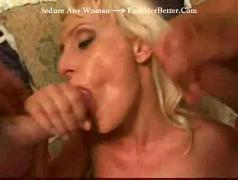 Blonde double fucked double swallow