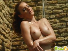 Natural boobs and pussy-ass play plus shower for judith