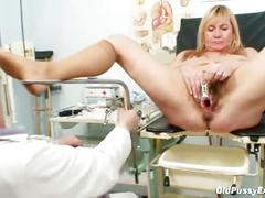 Horny grandpa doctor examines granny irma's hairy cunt