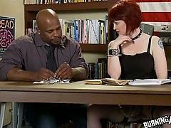 Tattooed schoolgirl fucks black cock
