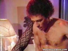Hot girl in black lingerie fucked in classic clip