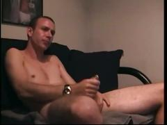 Troy wanks his pierced cock in solo