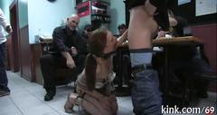 Slave is on her knees gagging deep