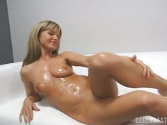 Horny blonde czech katka sizzling hot casting