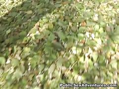 Sexy blonde sucks cock in the forest