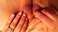 Wife playing with her pumped pussy