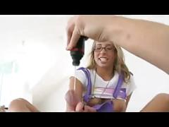 Nerdy girl in glasses like footjob 9