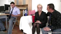 granny, mature, threesome, big cock, blonde, sucking, hot, oral, old and young, more