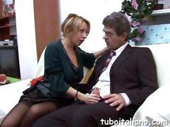 Gorgeous italian milf blows a mature businessman