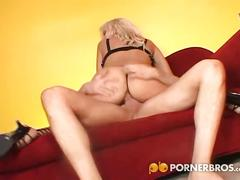 Fabulous blonde babe with big tits love anal sex