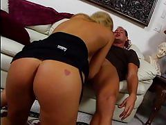 blonde, babe, shaved, pussy-licking, rubbing, fingering, couch, big-tits, blowjob, riding, anal, ass-fuck, cumshot, facial, fake-tits