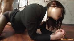 Office lady in pantyhose rubbing her employers cock