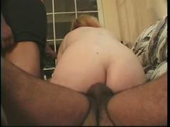 Curvy blonde hairy pussy with 2 guys