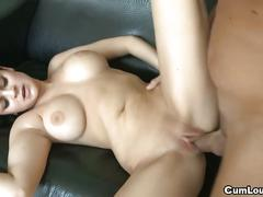 Busty babe sucks dick before hardcore pussy fuck