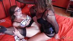 Femdom with strapon fucks horny lesbian babe wearing nylons wet little cunt