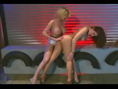 Lesbian milfs tease in nude pantyhose