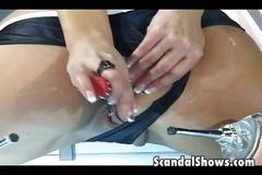 Horny girl dildoing her both holes