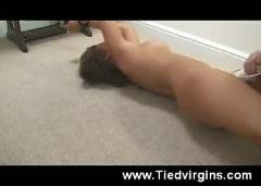 Tied and spread teen - forced orgasm!