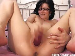 Cute brunette fucking her juicy pussy hard4.flv