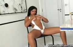 Busty latin babe sucks cock