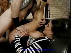 Milf with big tits makes slow love to cock