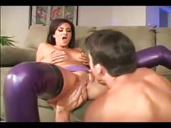 Slutty maid getting pounded in a corset and shiny latex lingerie