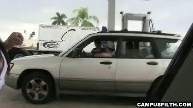 Kinky college girls suck hard cocks inside the car