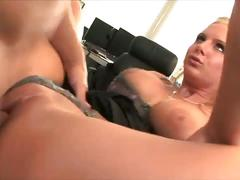 Ladyboss francesca le fucks with her panty on