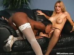 ebony, lesbian, interracial, black, girl-on-girl, pussy-licking, big-tits