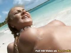 Blonde slut sex on the beach