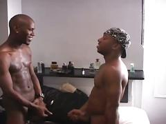 Sexy black studs rimming and fucking threesome