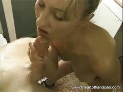Horny blonde masturbated and enjoyed a handjob