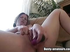Busty ginger loves toying her hot pussy