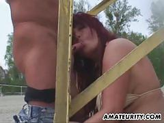 Redhead amateur milf gets fucked in outdoors.