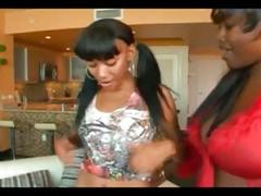 Hot black teen and black milf lesbos