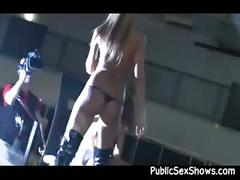 Strippers having fun during big live sex show