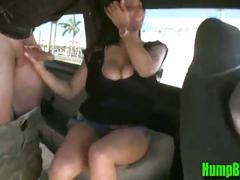 Brunette girl sucking dick on the hump bus