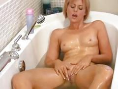 At home cougar dildo bath masturbation
