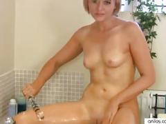 At home cougar dildo bath masturbation