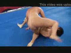 Sexy brunette and skinny boy wrestling and facesitting