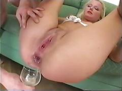 Drinks cup-o-3guys out her ass