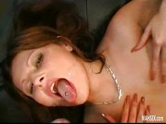 Pretty brunette babe gets facials and swallowing from huge cocks