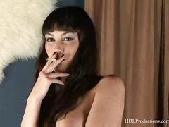 smokes, solo, fetish, including, cigarettes, nudity, masturbation, breasts, brunette, full, smoking, natural