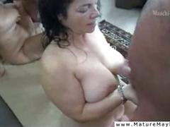Mature slut molested by herds of men
