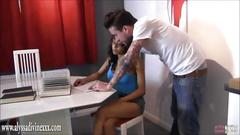 Private tutor hunk fucks gorgeous busty ebony babe student hard over desk