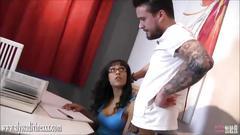 Private tutor hunk fucks gorgeous busty ebony babe student hard over desk