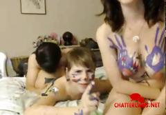Naked painted teens threesome